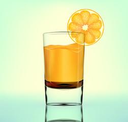 Vector orange fresh in glass