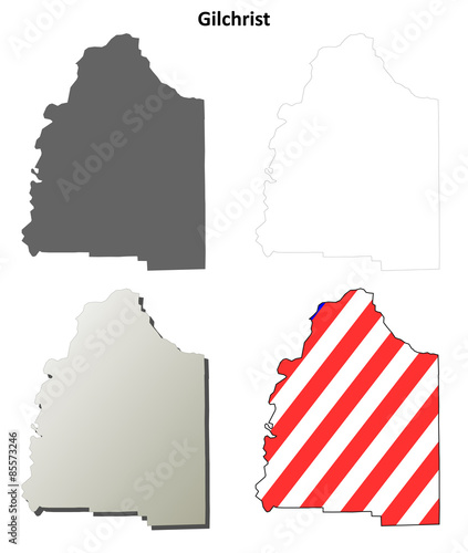 Florida Map Outline.Gilchrist County Florida Outline Map Set Stock Image And Royalty