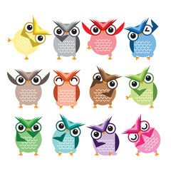 Cute Vector Collection of Bright Owls. Vector illustration