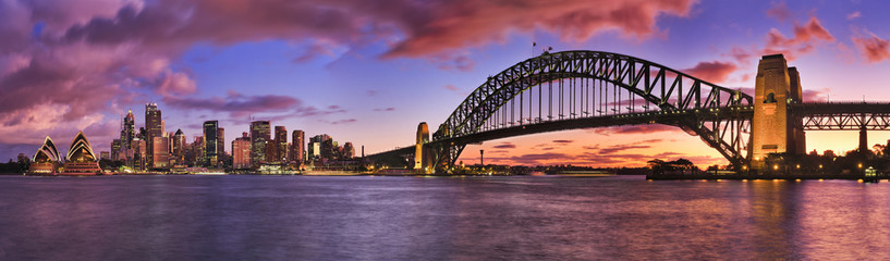 Canvas Prints Bridge Sydney CBD Milsons Left Pier panorama
