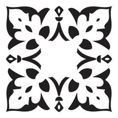 Hand drawing decorative tile frame. Italian majolica style