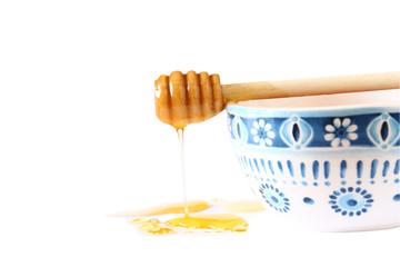 honey glass jar. rosh hashanah (jewesh holiday) concept