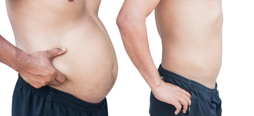 before and after man fat and slim body