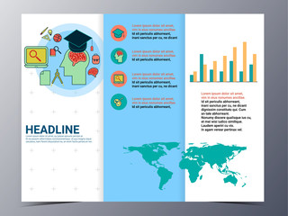 education and school brochure design template vector flyer