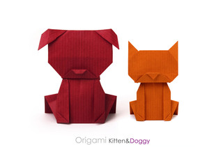 Origami friends dog and cat
