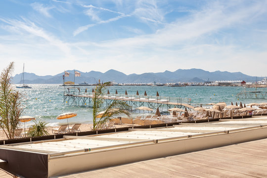 France, French riviera. Cannes. Beach