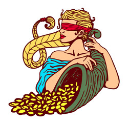 Blindfolded goddess of fortune holding cornucopia horn of plenty full of gold coins, good luck charm, lottery winning, bonanza, stroke of luck