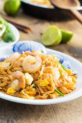 Thai Food : Padthai Thai noodle style on the wood desk