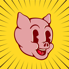 Vintage toons: retro cartoon pig character face, happy smiling piglet pork swine