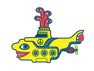 Yellow submarine diving in the depths of sea, sixties psychedelic art cartoon illustration