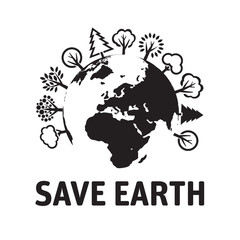 Illustration of Eco World and text SAVE EARTH