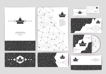 Document template with triangle geometric abstract background
