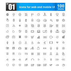 Simple line icons for web design and mobile ui vector illustrati