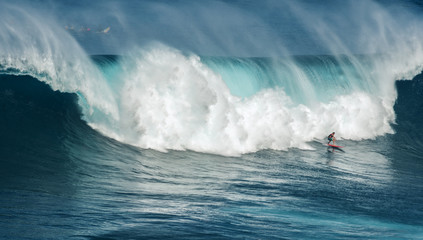 MAUI, HAWAII, USA-DECEMBER 10, 2014: Unknown surfer is riding a