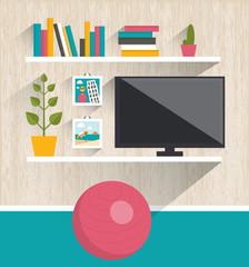 Living room interior. Tv and book shelves. Flat design vector illustration.