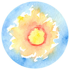 Watercolor sun sunshine circle isolated vector