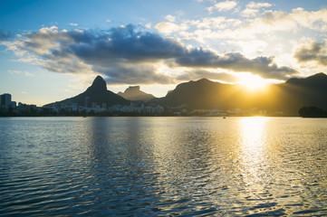 Lagoa Rio de Janeiro Brazil Sunset Skyline