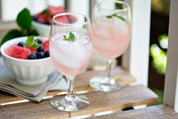 Cold watermelon drink on the table outdoors
