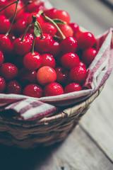 Cherries on wooden background