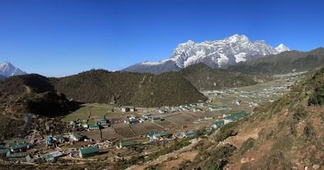 Sherpa village Khumjung and snow capped Kongde Ri