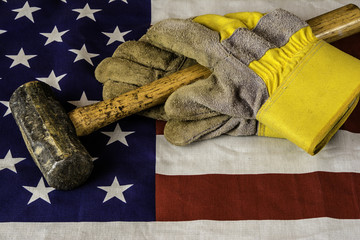 American Worker hammer and gloves on american flag