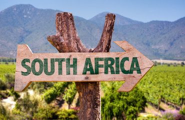 Fotobehang Zuid Afrika South Africa wooden sign with vineyard background