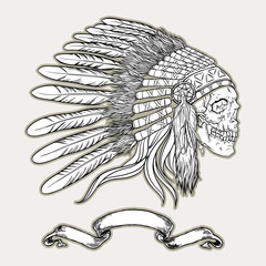 Native american indian chief headdress. Indian skull vector