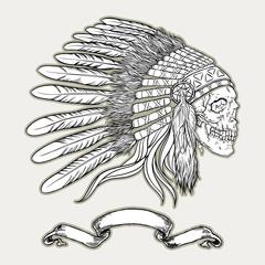 Native american indian chief headdress. Indian skull vector