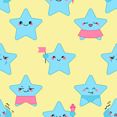 Vector kawaii stars seamless pattern with emotional faces, boys and girls