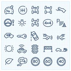 Car interface thin line icons set