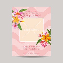 Baby Arrival Card with Photo Frame -Tropical Flowers Theme