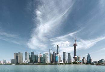 Fototapete - Shanghai skyline in sunny day, China