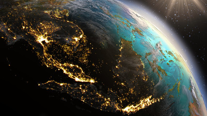 Planet Earth South East Asia zone using satellite imagery NASA