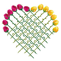 Roses that shape a heart and a jigsaw puzzle with their thorny stalks, as a symbol for matters of love. Isolated vector illustration on white background.