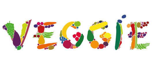 VEGGIE written with colorful fruits and vegetables. Isolated vector illustration on white background.
