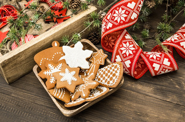 Christmas ornaments and gingerbread cookies. Home decoration