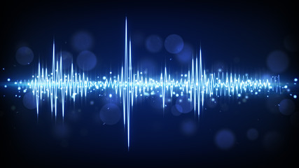blue audio waveform background