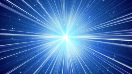 blue shining light rays and stars background
