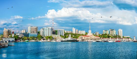 Sochi cloud summer city buildings sea black russia urban panoram
