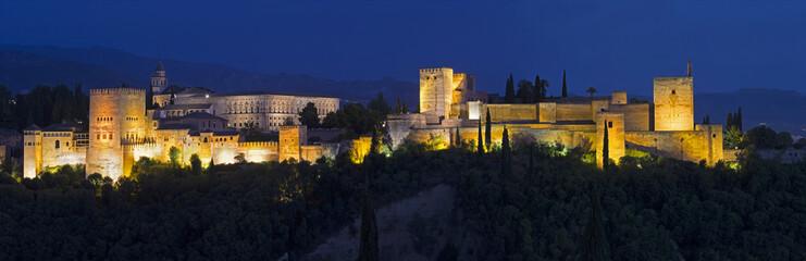 Granada - panorama of Alhambra palace dusk.