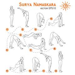 Vector yoga illustration. Surya Namaskara. Yoga set. Yoga exercises. Women yoga. Yoga class, yoga center, yoga studio. Yoga poster. Sketch with yoga asana. Girl does yoga exercises. Healthy lifestyle.