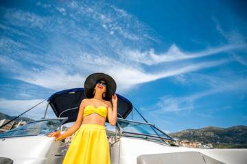 Woman relaxing on the yacht