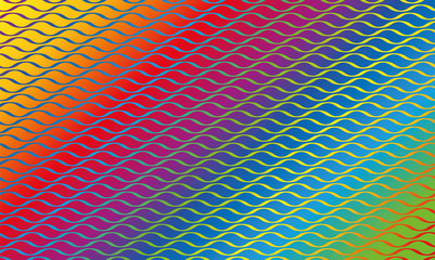 Rainbow colored wave pattern background - vector illustration.