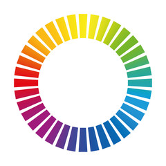 Dashed circle or buffer circle - rainbow colored gradient ring. Isolated vector illustration on white background.