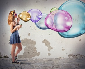 Colorful soap bubbles