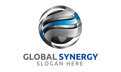 3d, global, globe, world, earth, synergy, silver,  blue, logo