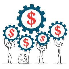 People working in team dollar symbol