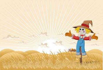 Farm landscape with cartoon scarecrow