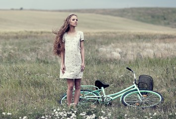 Girl, field, fashion.