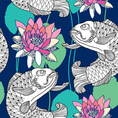 Seamless pattern with white carp and water lily in pink